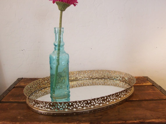 Vintage Gold Filigree Mirrored Dresser Tray by ZinniasOldfangles, $18.00
