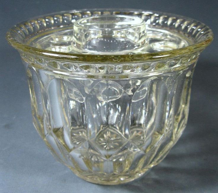♦Vintage art deco depression glass vase +frog Crown Crystal  Double Lozenge ♦