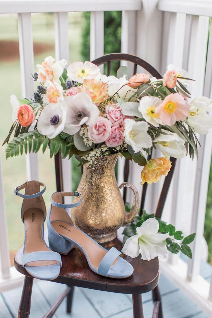 Soft Romantic Bridal Inspiration - flowers and blue bridal shoes