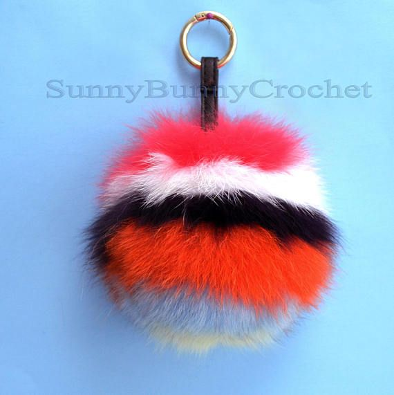 6 FUR POM POM Keychain Large Fox Bag Charm Key Chain