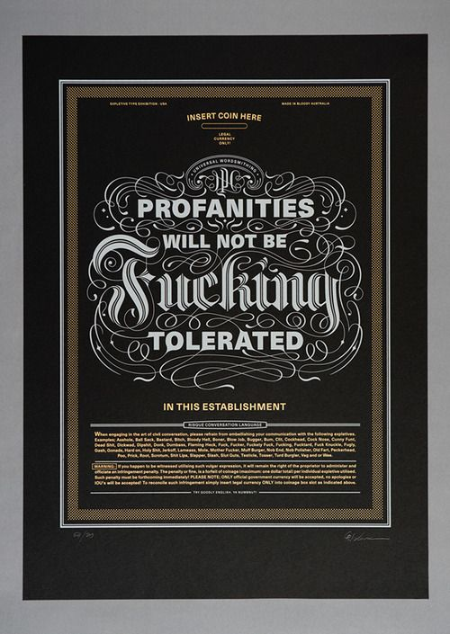 """""""profanities will not be FUCKING tolerated"""" typography... #typography #design"""