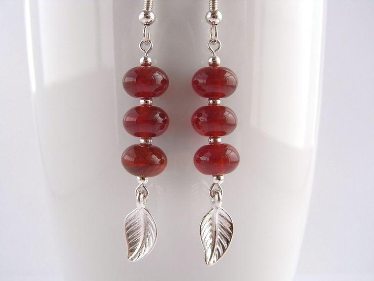 Dark orange earrings Leaf earrings Glass drop Dangle earrings Autumn jewellery Silver earrings UK shop (9.00 GBP) by MountainAshJewellery