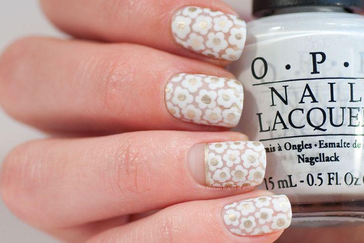 White Floral Negative Space Nail Art