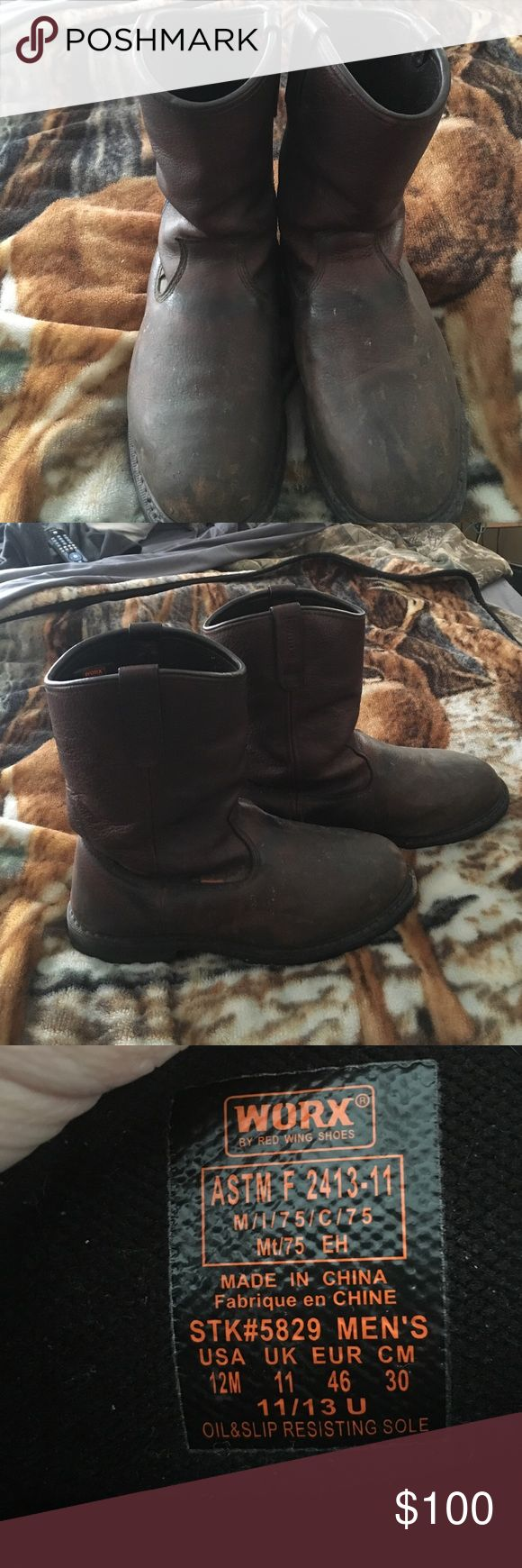 Worx by Red wing Steel toe slip on boots Oil and slip resistant sole, fire proof, great condition, size 12m, brown leather, steel toe (entire top of foot area) Worx by red wing Red Wing Shoes Shoes Boots