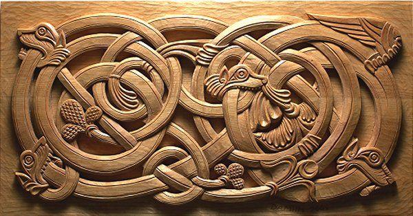 Nordic Panel - hand carved pine.  Deborah Mills.