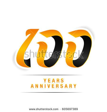 100 Years Yellow and Black  Anniversary  Logo Celebration Isolated on White Background