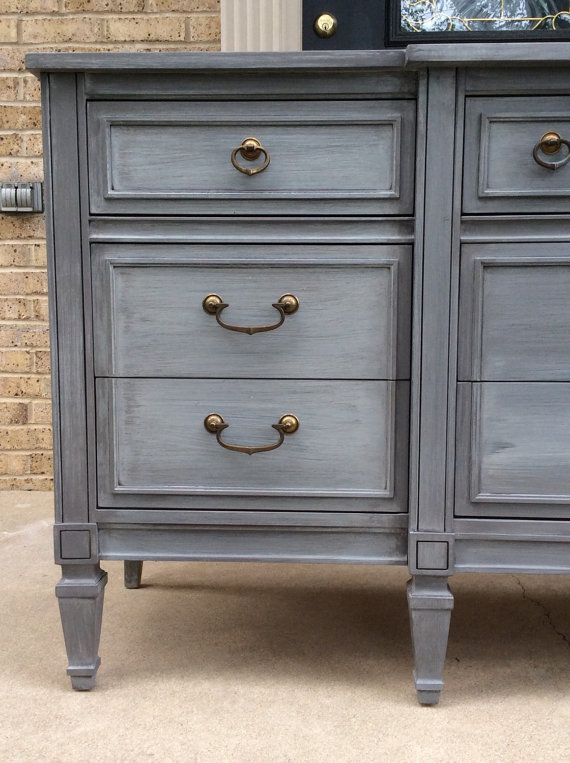 Best Sold Handsome Gray Vintage 9 Drawer Dresser Painted 400 x 300