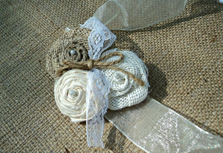 Popular items for burlap corsage on Etsy
