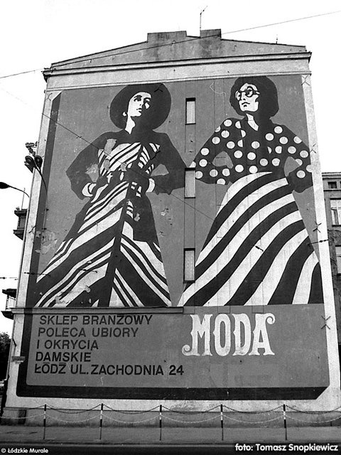 this mural disappeared in 80s (see pop-art fashion?) but still can be seen in a couple of old movies, Łódź, Poland