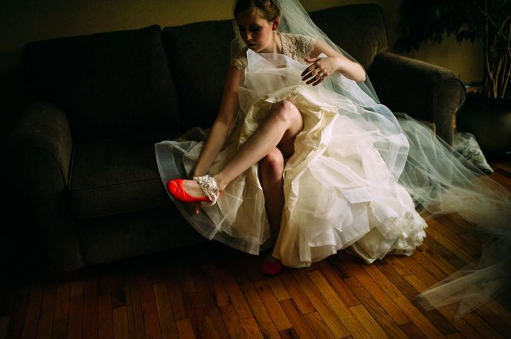 mysterious bride with red shoe