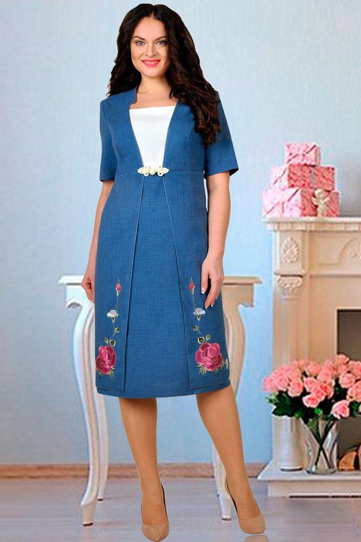 Летнее элегантное платье, выполненное из льна-вишера. Ярким акцентом служит цветочная вышивка, расположенная на отлетных деталях переда. Платье слегка расширено книзу. Спинка со средним швом и талиевыми вытачками. Длина от центра горловины спинки до низа - 105,5 см для 54,56,58 р-ров; 108,5 см - для 60,62 р-ров, длина рукава 29 см.