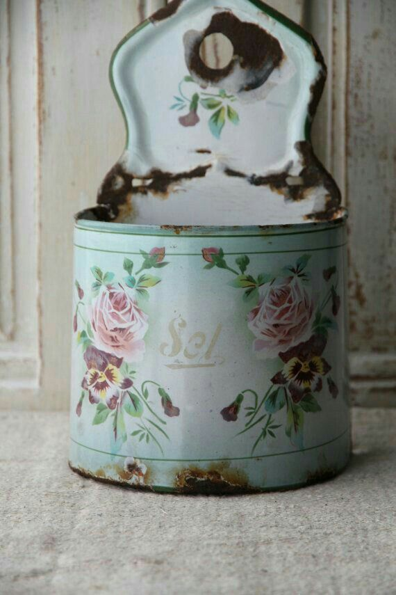 Vintage enamel salt container