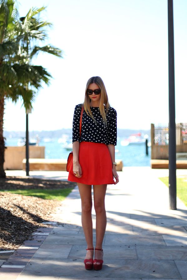 all that red: Outfits, Fashion, Polka Dots, Inspiration, Style, Dream Closet, Clothes, Red Skirts