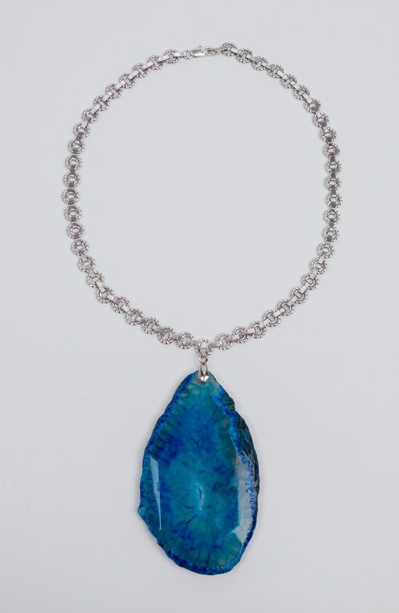 Blue agate big stone rhodium plated chain by ErikaKormaDesigns