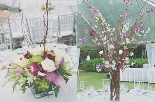 Curly willow and orchid centerpieces. Real Jamaican wedding at Half Moon Resort. #destinationwedding #montegobay