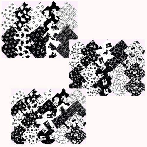 Scraps-5x5-10x10-cm-Patchworkstoff-Stoffe-Naehen-schwarz-weiss-BLACK-amp-WHITE
