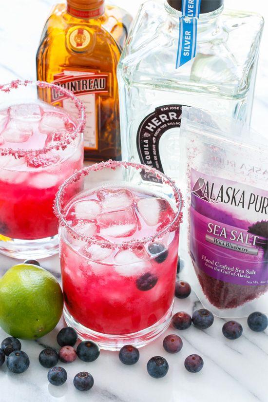 Fresh Blueberry Margarita Recipe made with Alaskan Blueberry Salt
