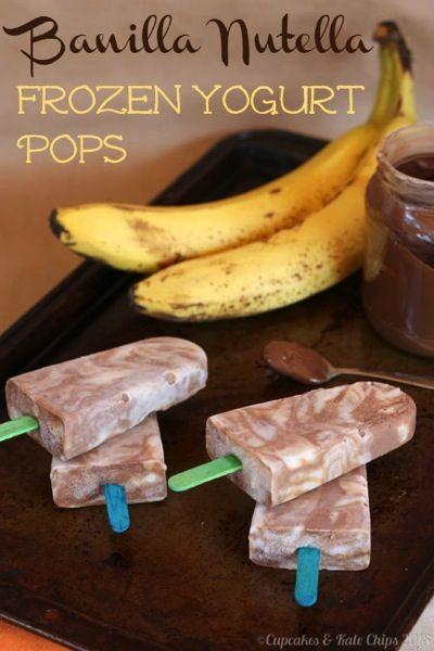 Banilla Nutella Frozen Yogurt Pops - tantalizing frozen swirls of banana vanilla & chocolate hazelnut Greek yogurt | cupcakesandkalechips.com