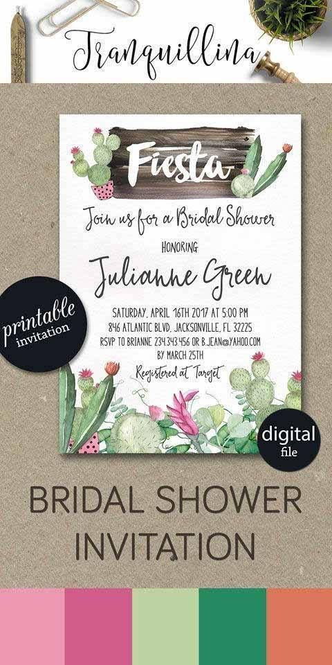 Fiesta Bridal Shower Invitation Printable Cactus Bridal Shower
