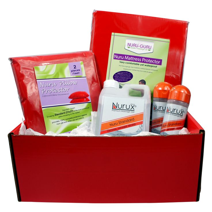 Nuru Massage Kit- Premium Nuru Massage Kit come with a beautiful Red Gift Box 1 Queen or King Fitted Sheet 2 Pillow cases 2 Bottles 8.45 Premium Nurux gel  1 Big Jug size 33 ounce