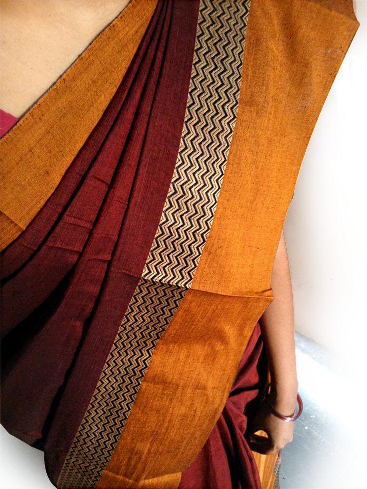 Indian Traditional Handloom Sarees: Narayanpet Maroon Color Cotton Saree with Maroon c...