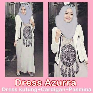 DRESS AZURRA Harga: Rp. 130.000,  Dress kutung + Cardigan + Pasmina Bahan: Spandek Rayon Size: All size fit to xl #Katalog_HijabManis #HijabManis #Dress #Azurra #Spandek #Pasmina #Cantik