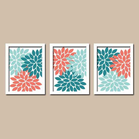 Teal coral wall art bedroom canvas or prints bathroom wall for Teal wall art