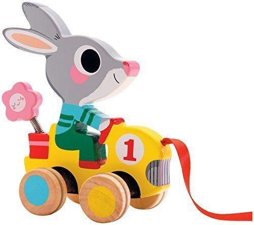 Amazon.com: Djeco / Roulapic Wooden Rabbit Racer Pull Toy by Djeco: Toys & Games