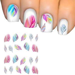 Damen-Feder-Design-Nail-Art-Sticker-Nagel-Aufkleber-Nail-Tattoo-Nagelsticker-neu