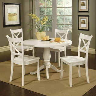 5 pc Douglas white finish wood pedestal dining table set with cross back wood chairs- Acme:  Boards, Finish Solid, White Finish, Tables Sets, Casual Living, Kitchens Tables, Dining Sets, Douglas White, Dining Tables