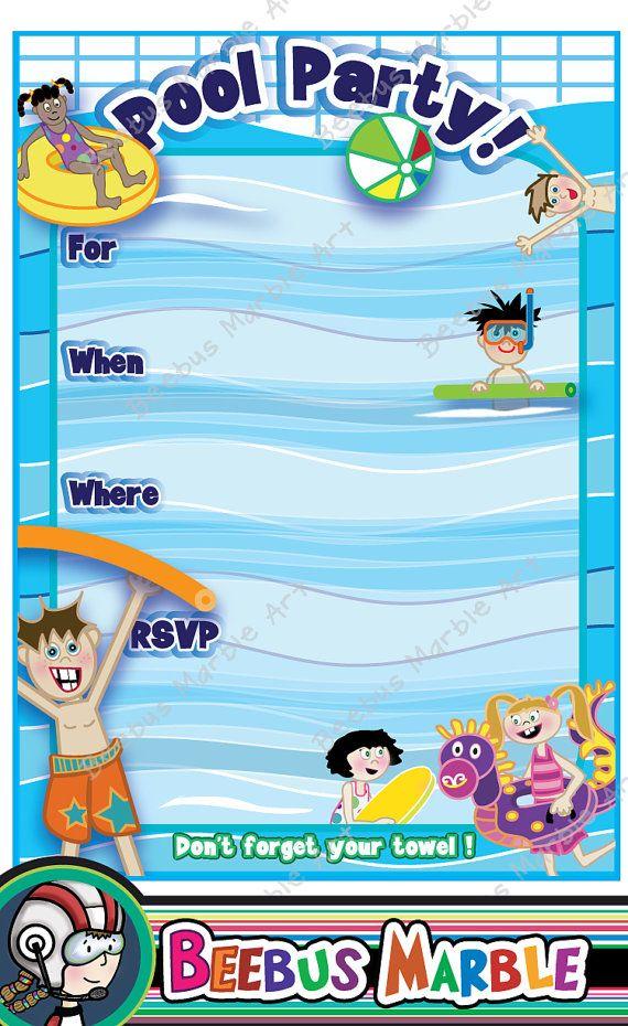 Pool Party invitation Printable Digital Download 5 by beebusmarble