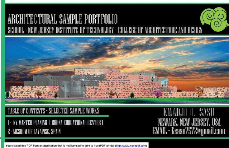 Architectural portfolio sample ksasu