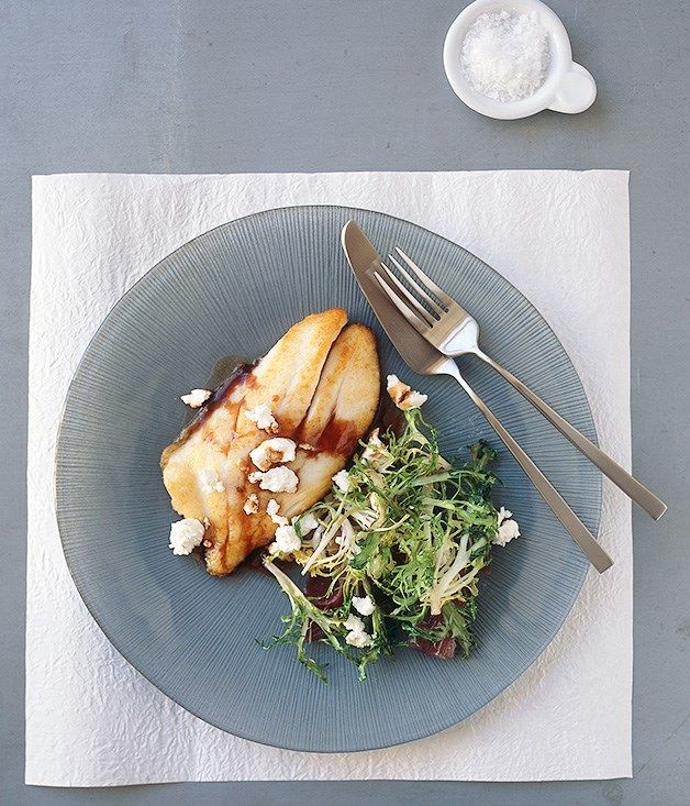 Australian Gourmet Traveller Italian-style recipe for pan-fried John Dory agrodolce with endive and goat's cheese