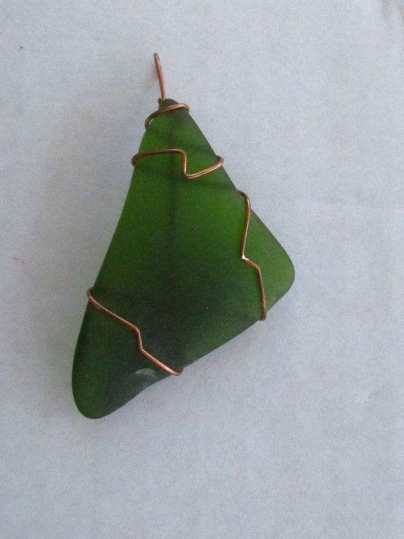 Artículo  P-0004 verde mar cristal envuelto en cobre