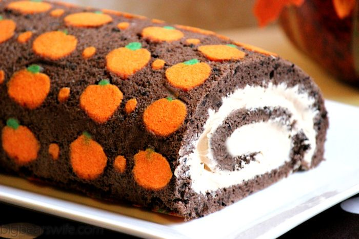 "Big Bears Wife: Chocolate ""Pumpkin"" Swiss Roll Cake #SundaySupper"