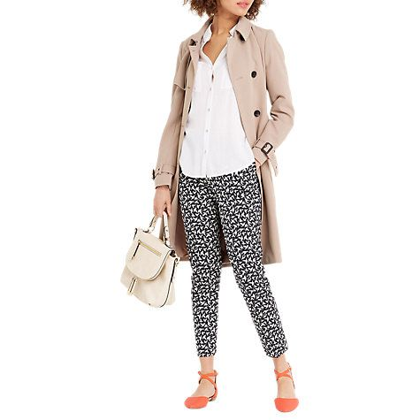 Buy Oasis Bird Print Trousers, Navy Online at johnlewis.com