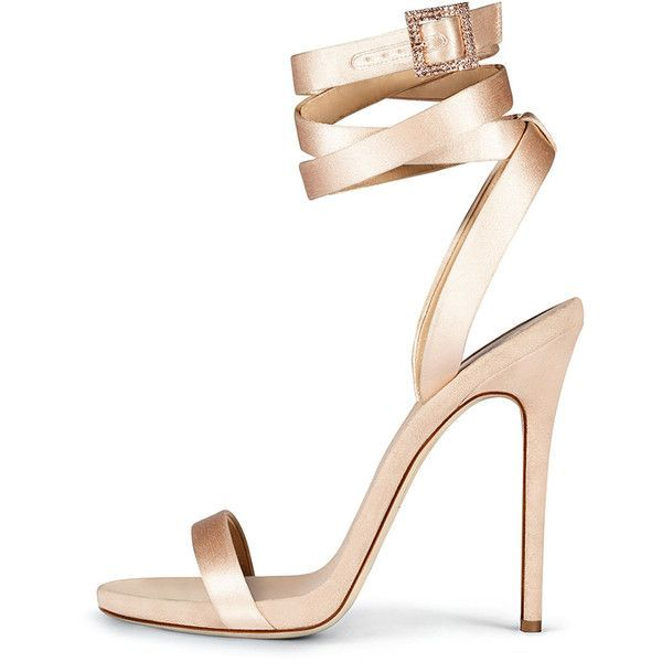 Giuseppe Zanotti For Jennifer Lopez Leslie Satin Ankle-Wrap 120mm... (£715) ❤ liked on Polyvore featuring shoes, sandals, nude, shoes sandals, nude open toe shoes, ankle wrap shoes, wrap sandals, ankle tie sandals and wrap shoes