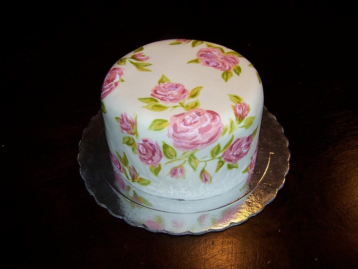 fondant torte mit rosen bemalt fondant cake with painted roses meine torten my cakes. Black Bedroom Furniture Sets. Home Design Ideas