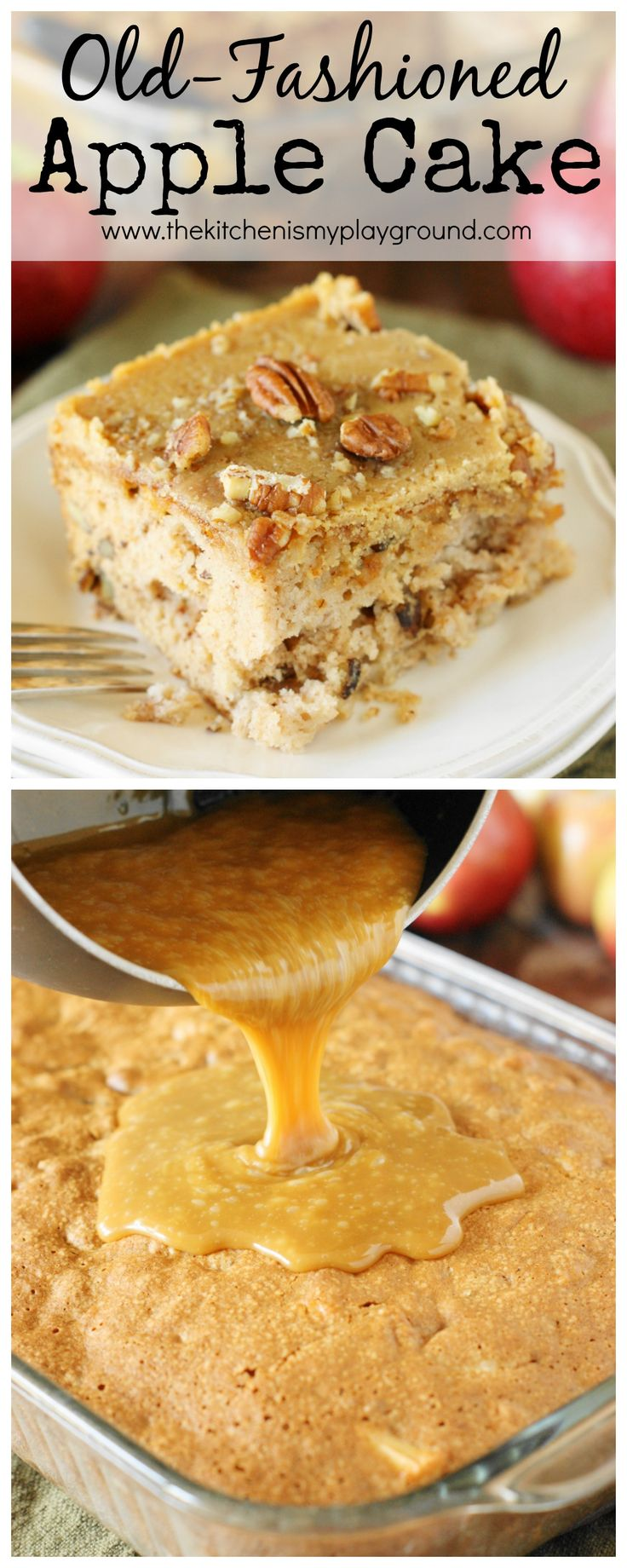 Old-Fashioned Apple Cake ~ Loaded with fresh apples, iced with boiled caramel topping, & studded with crunchy pecans, this is one stunningly delicious apple dessert.  www.thekitchenismyplayground.com