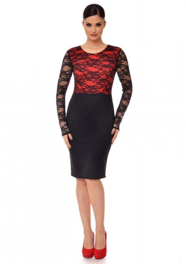 Rochie neagra eleganta cu dantela si bust rosu R231i061