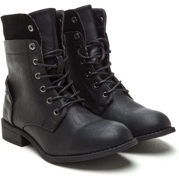 Bad Babe Faux Leather Combat Boots ❤ liked on Polyvore featuring shoes, boots, faux leather boots, synthetic leather boots, vegan footwear, army boots and combat booties