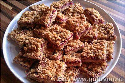 Овсяно-кокосовое печенье с малиной. Фото-рецепт
