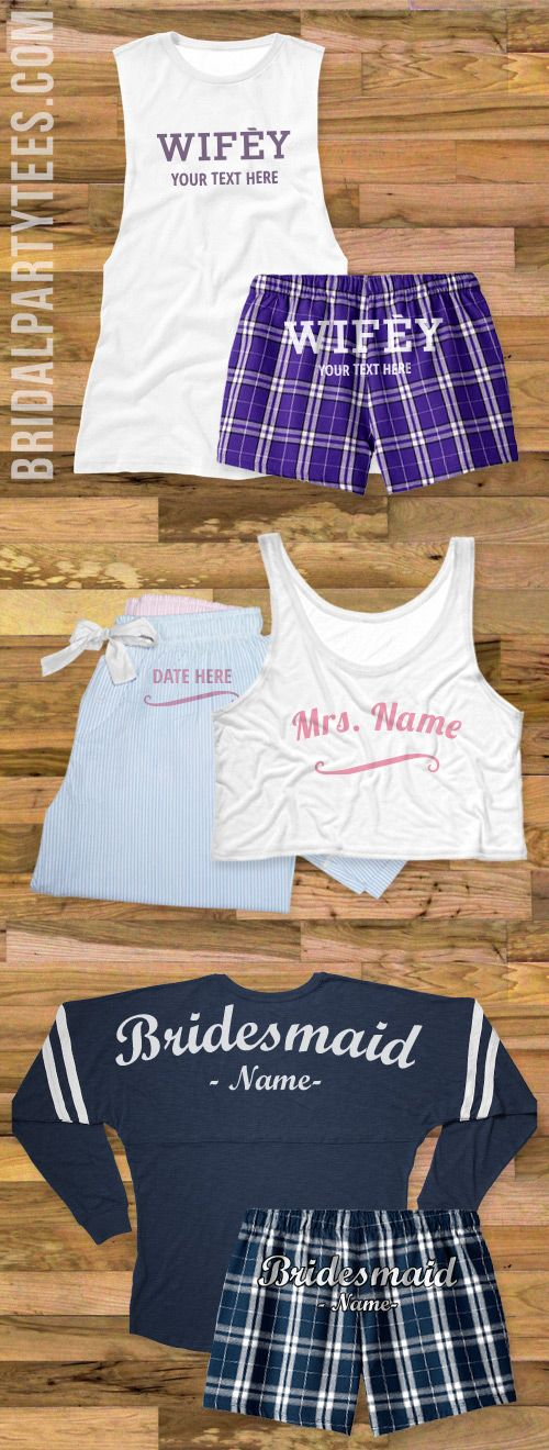 Plan a bachelorette slumber party with personalized pajamas for everyone in the bridal party!