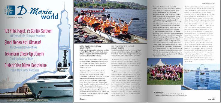 """""""D-Marin World"""" 05-06 2014 sayısında yer verilen ve D-Marin Göcek desteğinde başlayacağımız Dragon Boat programımız ile ilgili haberimiz.. Detaylı yazıları bir sonraki """"pin"""" de okuyabilir, sayfa 38 de bulunan haberimiz ya da tüm dergiyi http://www.ajansderin.com/d-marin_world_16/ linkinden okuyabilirsiniz..."""
