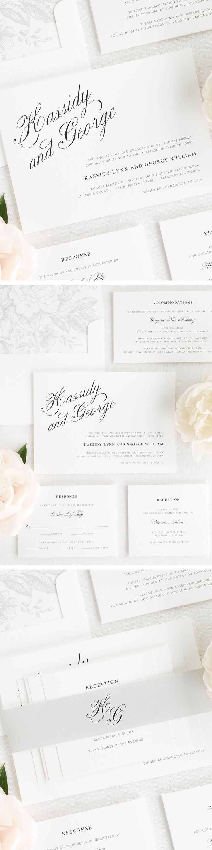 The names on these charming wedding invitations are set apart in a beautiful and classic script font. Shown in black with a garden rose envelope liner and solid belly band, both in silver.