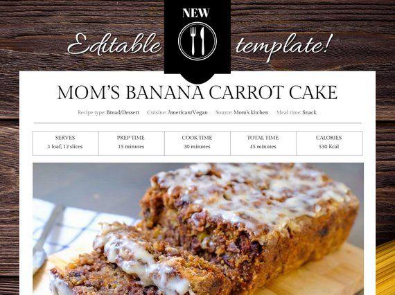 Editable Recipe Template 8 5 X 11 Recipe Binder Printable Recipe Card Cookbook Template Printable Cookbook Kitchen Cookbook Template Recipes Short Recipes
