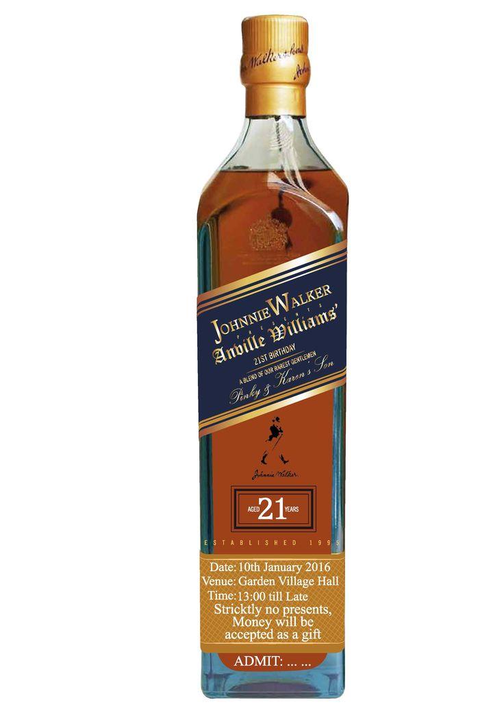 Johnnie Walker 21st Birthday themed invite