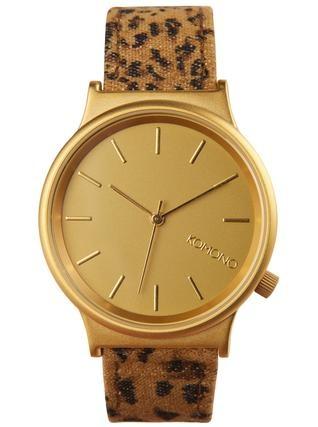 Zlaté hodinky Komono Wizard s leopardím potiskem 1