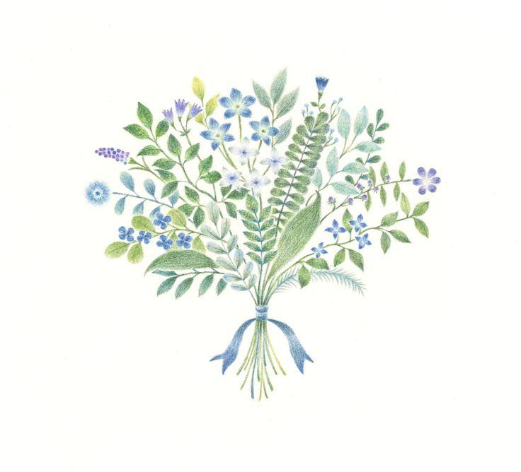"""Blue Bouquet"" −RiLi, picture book, illustration, design ___ ""青色の花束"" −リリ, 絵本…"