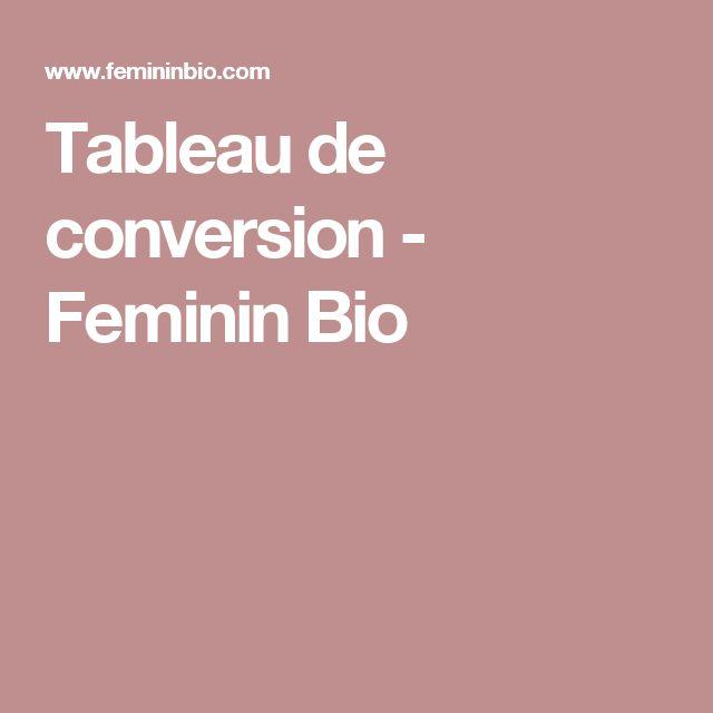 Tableau de conversion - Feminin Bio